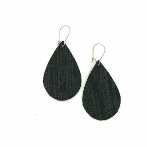 Black Leather Teardrop Earring