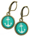 Anchor Glass Photo Earrings