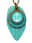 Turquoise Anchor Long Necklace
