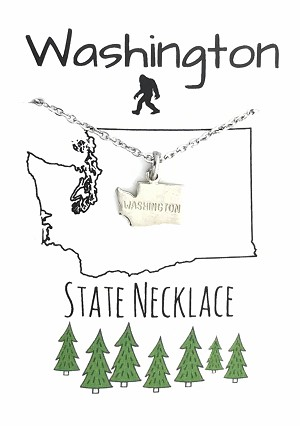 Washington State Necklace Silver